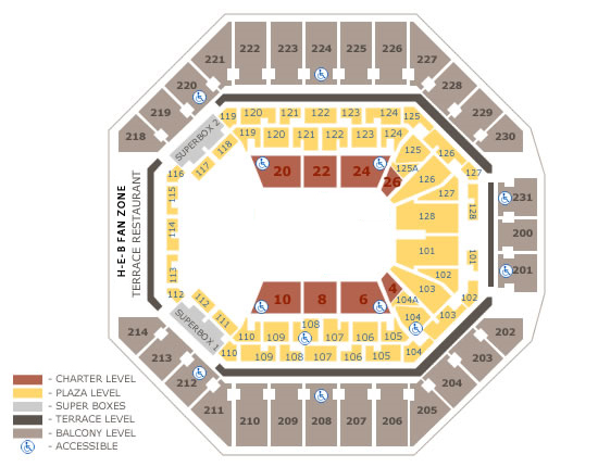 At t center seating charts for Dining near at t center san antonio